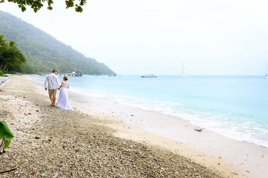 Fitzroy Island wedding in the rain
