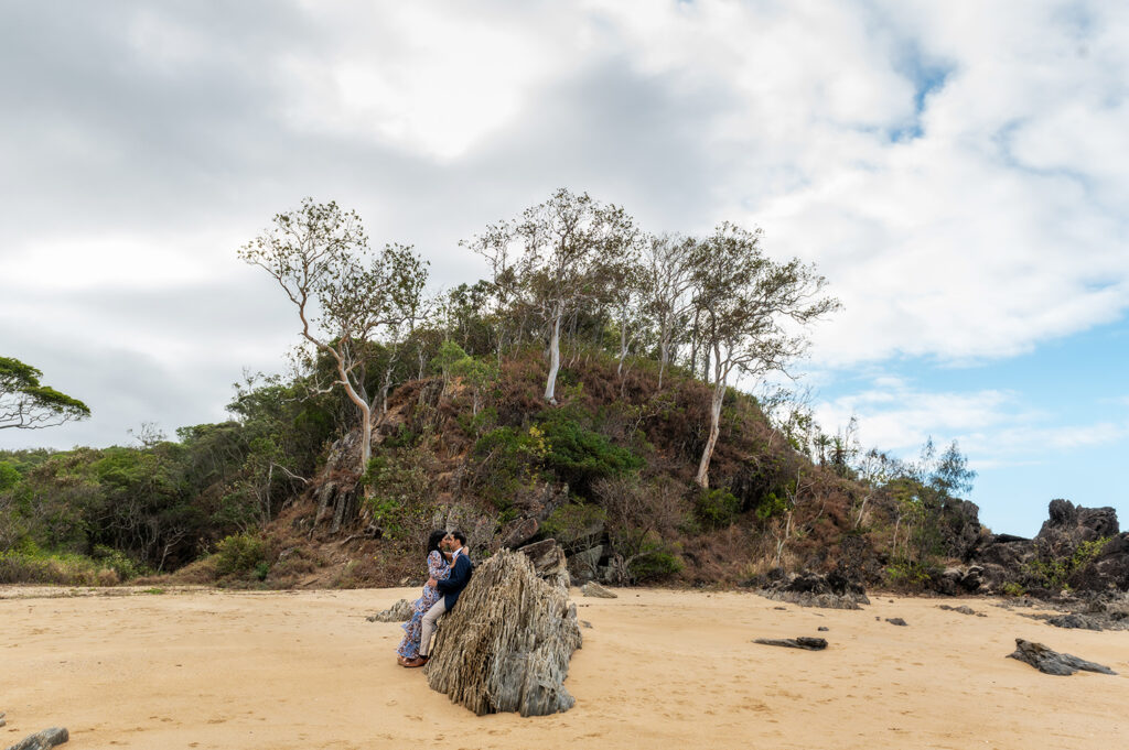 bride and groom at Palm Cove beach wedding