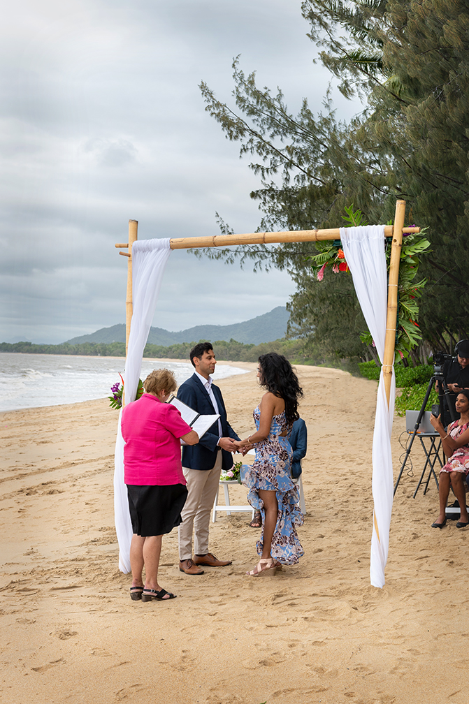 Bride and groom at palm cove wedding