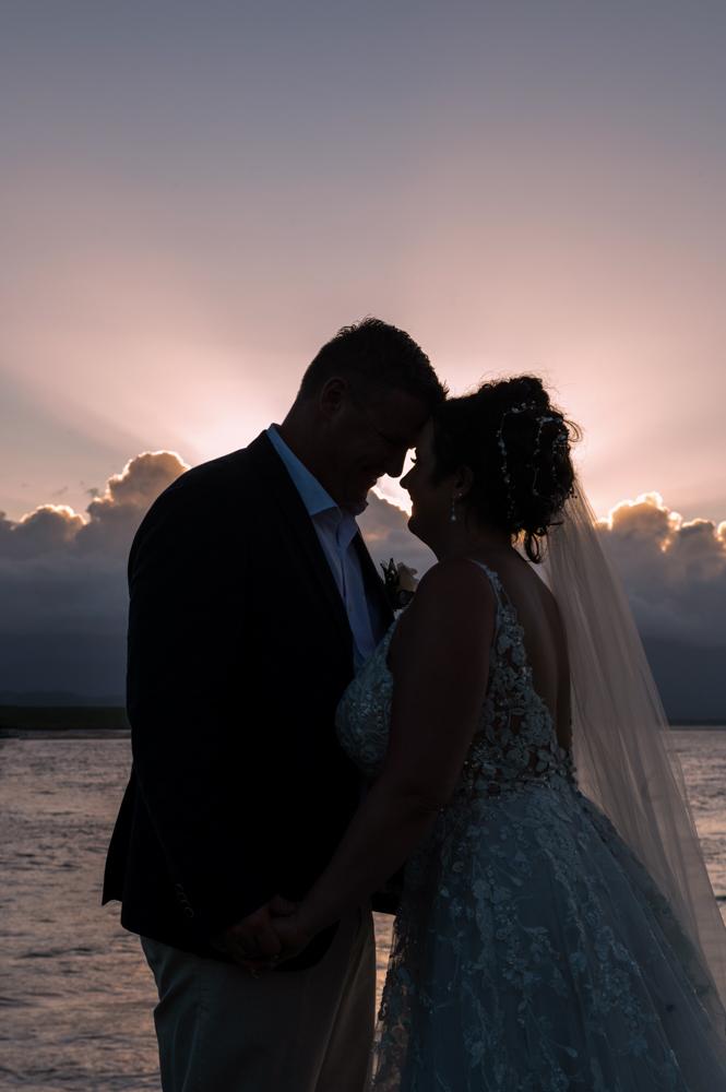 Sunset bride and groom Port Douglas